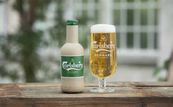 Carlsberg's beer in its new paper bottle.